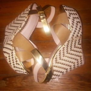 Tan and gold platform sandals