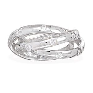 Jewelry - Rhodium plated bands with CZ. Size 6 or 7
