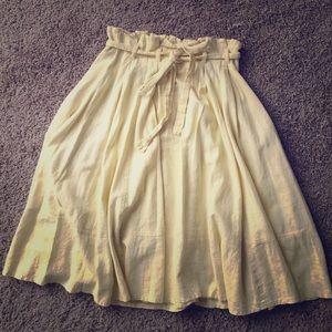 Yellow midi skirt with tie waist