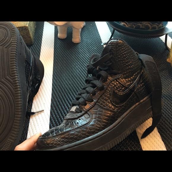 11cd326b6713 Nike Shoes | Black Croc Print High Tops | Poshmark