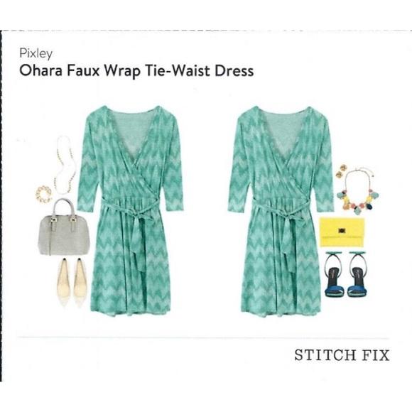 9fc9a060cbf Stitch Fix Pixley O hara Faux Wrap Dress Tie Waist.  M 5789735ebcd4a7748b003b75