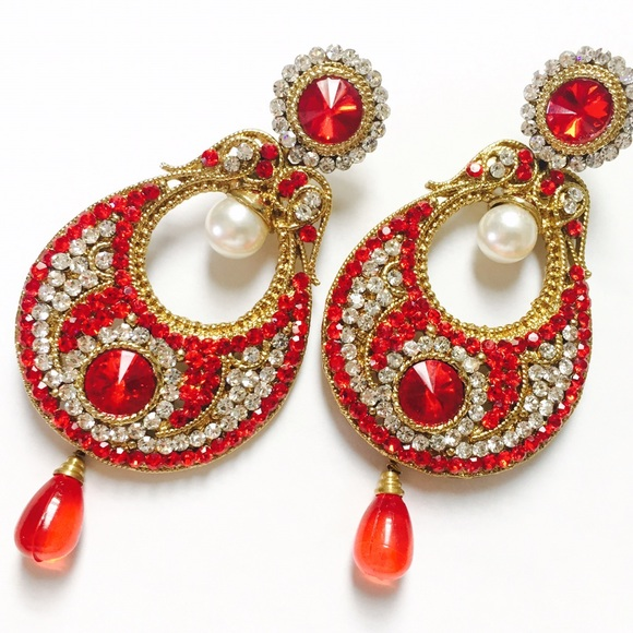 earrings market jhumki etsy il gold chandbali pearl studs jhumka indian