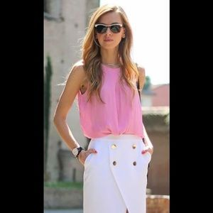 Simple pink peach blouse bow tie top