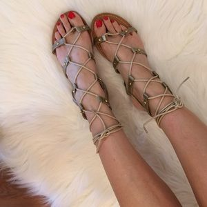 Boutique Shoes - Bronze Gold Lace Up Gladiator Sandals