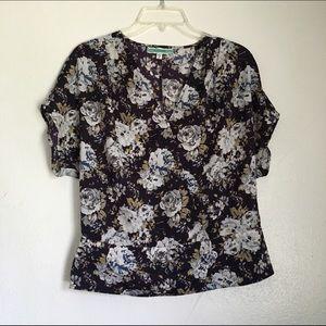 Women's floral cross front blouse