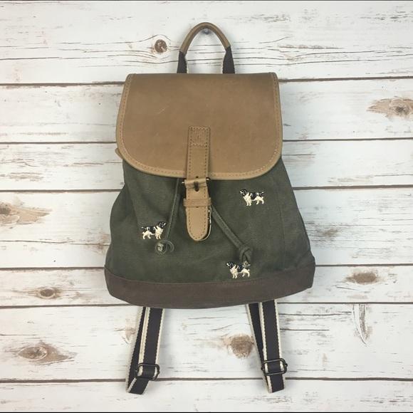 3ecea4959f L.L. Bean Handbags -  L.L. Bean  Dog Embroidery Canvas Leather Backpack