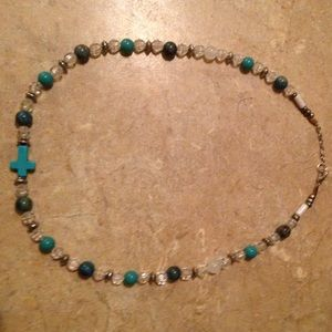 Jewelry - Teal cross necklace!