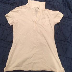 ❤️White short sleeve polo button up