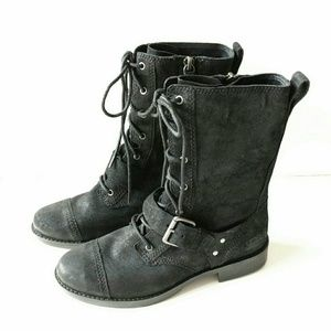 5cf60069353 🔛SALE UGG Marela Black Suede Combat Lace Up Boots NWT