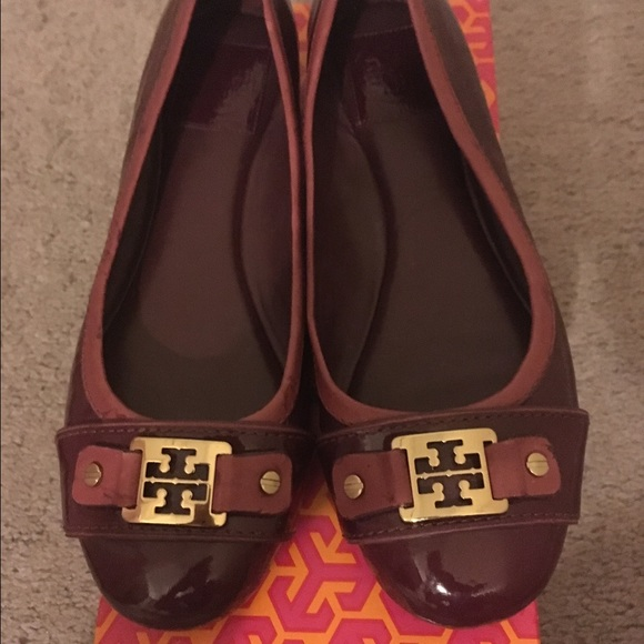 Used Tory Burch size 8.5 patent plum ballet flats