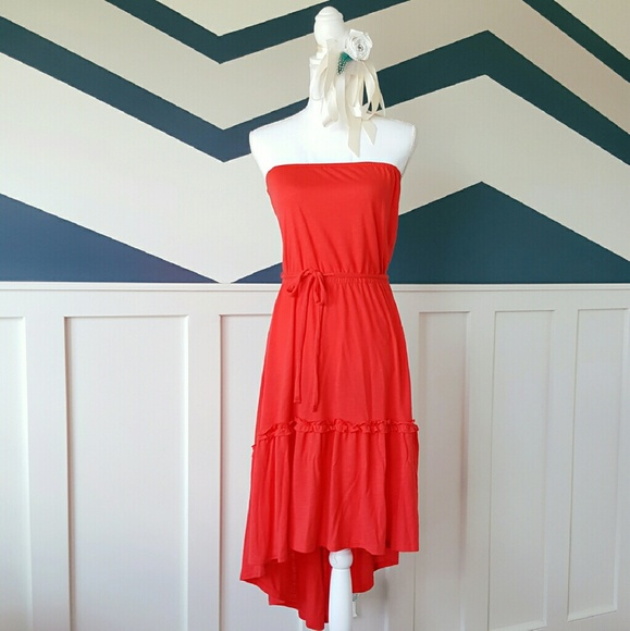 Dresses   Red Strapless Tied Step Dress   Poshmark
