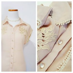 Tops - Western Chic Lace Trim Collared Blouse Peach