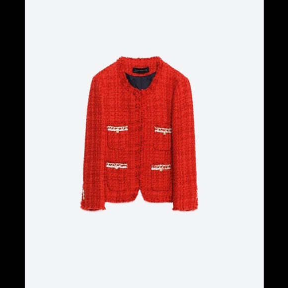 Zara - Zara Red Tweed Jacket Blazer from Y's closet on Poshmark
