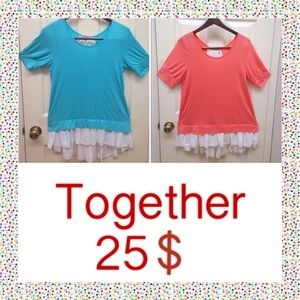 Tops - Stretch t-shits very cute . Blue and peachy.🎉🎉🎉