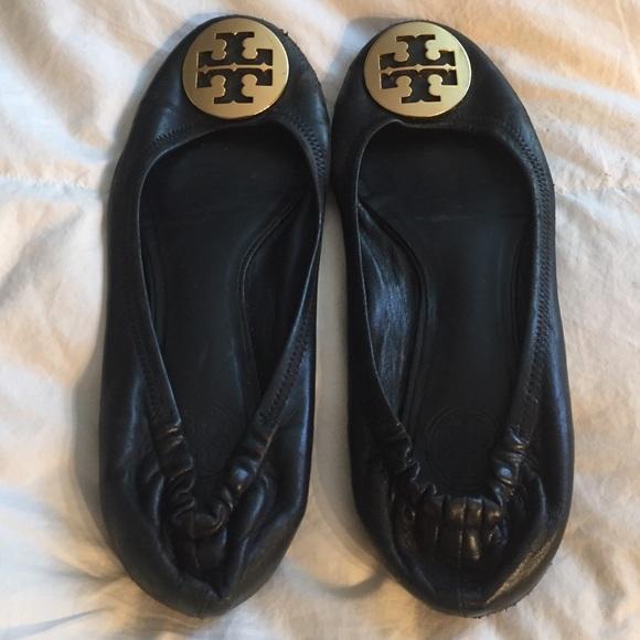 e66a50972 TORY BURCH black Leather Reva Ballet Flats 7.5 8. M 578a43eb2fd0b75458002223
