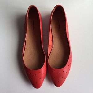 Madewell Shoes - Madewell Red Holepunch Sidewalk Skimmer Flats