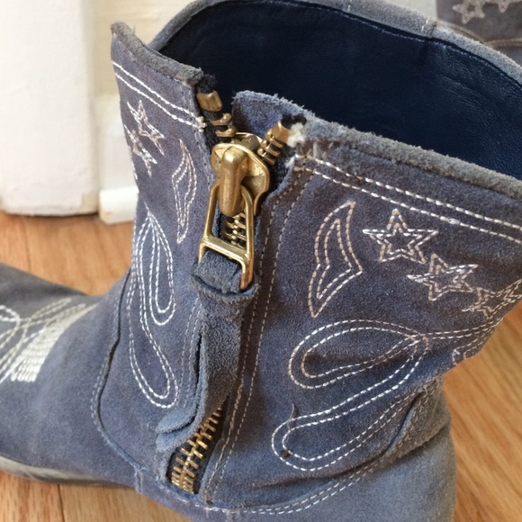 60 free shoes blue suede ankle cowboy boots