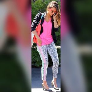 Current Elliott Neon Leopard Skinny Jeans 27