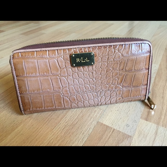 95145a1bbe6 Lauren Ralph Lauren Handbags - Lauren Ralph Lauren Croc Embossed Zip Wallet  mint!