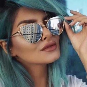Gold & silver cat eye mirror lense sunglasses