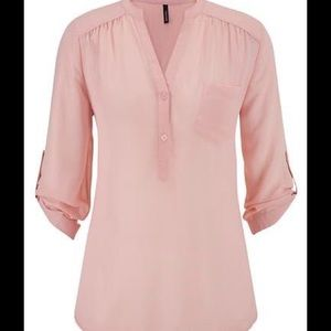 Blush sheer tunic top