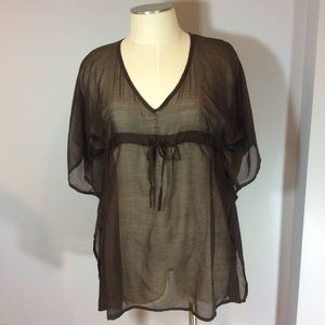 Echo Other - ECHO brown sheer swim cover-up w drawstring