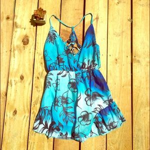Blue Floral Romper from Sabo Skirt