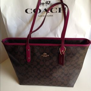 Coach City Zip Tote Brown/Fuchsia Handbag