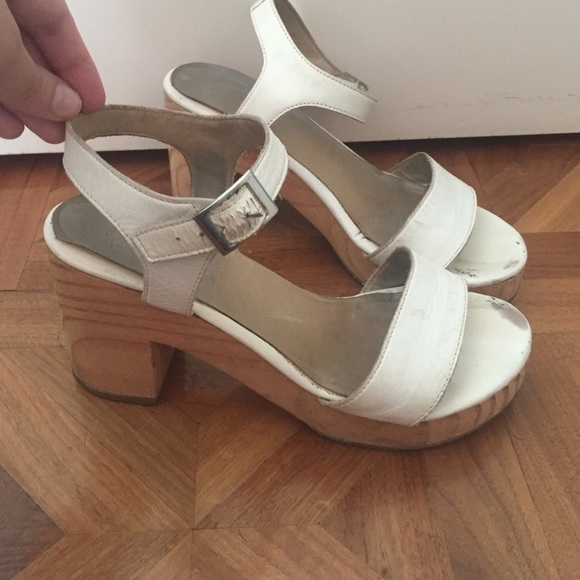 e97770ef634 American Apparel Shoes - American Apparel white leather wooden sandals 9