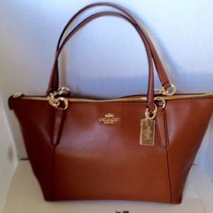 Coach Handbags - Coach Ava Crossgrain Saddle Brown Leather Tote