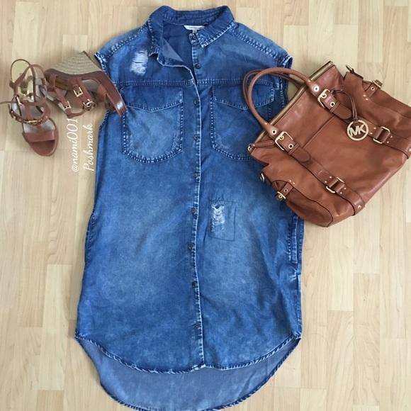 74411c5cb61 Calvin Klein Destroyed Distress Denim Shirt Dress