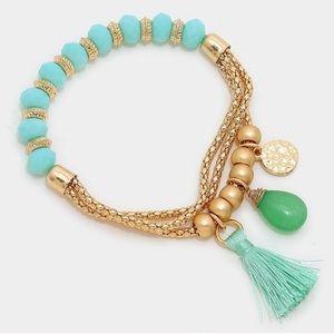Farah Jewelry Jewelry - Tassel semi precious stone charm stretch bracelet