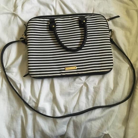 963b948a174f Steve Madden Black White Striped Laptop Bag Purse