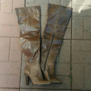 Price drop! Brown leather thigh high boot NEW