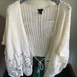Knit Cream Colored Poncho Kimono