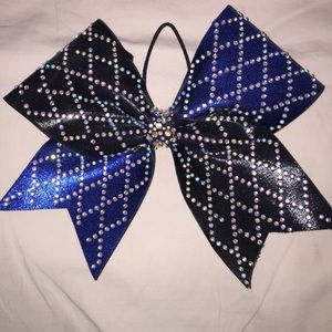 Accessories - Blue and black rhinestoned bow