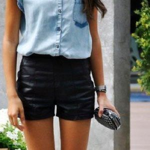 Lily White Pants - Faux Leather Short Shorts