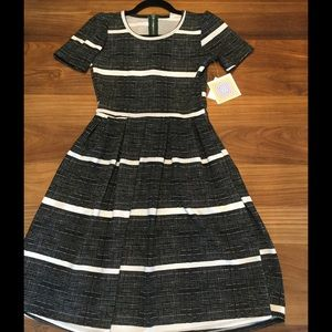 Black with white stripe Lularoe Amelia dress- NWT!