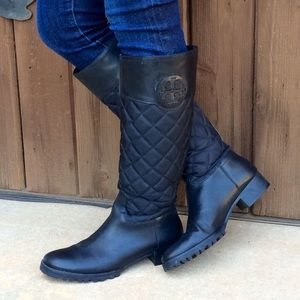 Tory Burch Shoes - Tory Burch Quilted Tall Boots BLACK