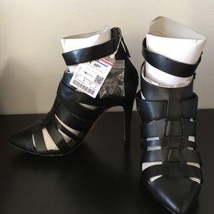 Black Faux Leather Heels by Zara
