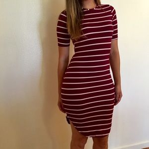 Dresses & Skirts - Burgundy Striped Curved Hem Midi Dress
