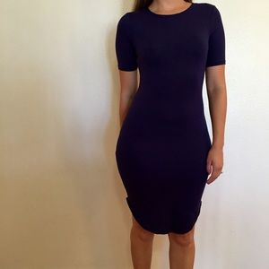 Dresses & Skirts - Navy Curved Hem Midi Dress