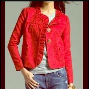 J. Crew Jackets & Blazers - J. Crew Herringbone Ruffle Trim Wool Blazer. S10.
