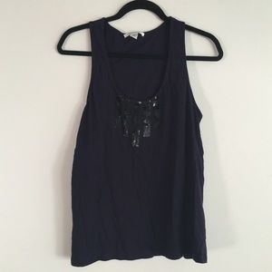 Kenneth Cole Sequin Navy Tank - Large