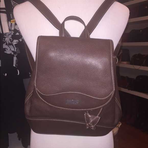 Oroton Sydney Brown Leather Backpack
