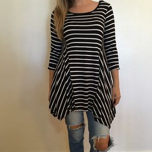 Tops - 3/4 Sleeve Striped Asymmetrical Tunic