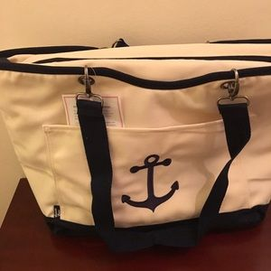 Thirty-One Handbags - Thirty-One Canvas Crew THERMAL Tote w/ Navy Anchor