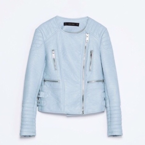 Zara - BRAND NEW Zara Baby Blue Faux Leather Jacket from Leslie's ...