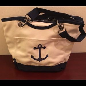 Thirty-One Handbags - Canvas Crew Mini THERMAL Natural with Navy Anchor