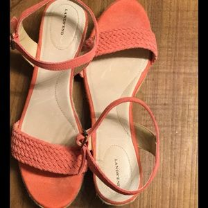 Lands End red strappy espadrilles